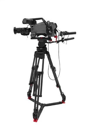tripod: The image of video camera under the tripod Stock Photo