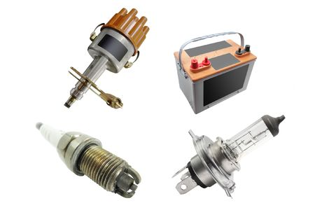 The image of different kinds of automobile spare parts photo