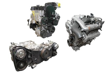 The image of cars engines under the white background.  photo