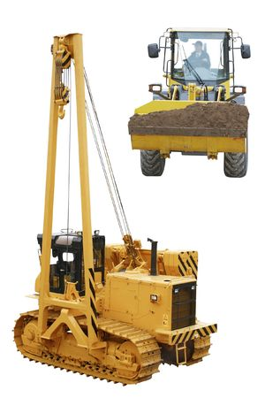 pipelaying crane and tractor under the white background photo