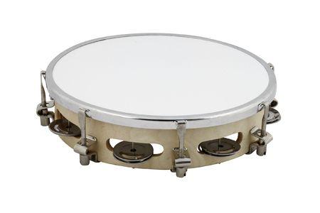 The image of tambourine under the white background photo