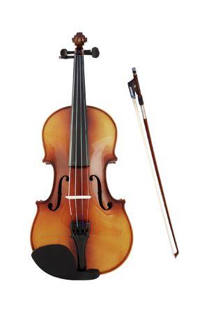 fiddlestick: violines y un fiddlestick bajo el fondo blanco  Foto de archivo