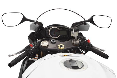 gage: The image of motorcycle handlebars and gage panel under the white background
