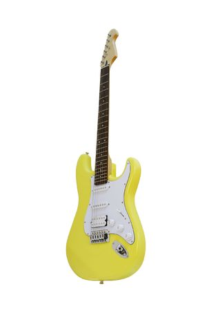 The image of yellow electric guitar under the white background Stock Photo - 8091916