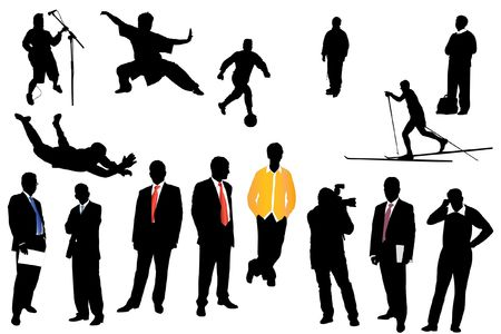 Black silhouettes of different businessman, sportsman and musicians Stock Photo - 8170626