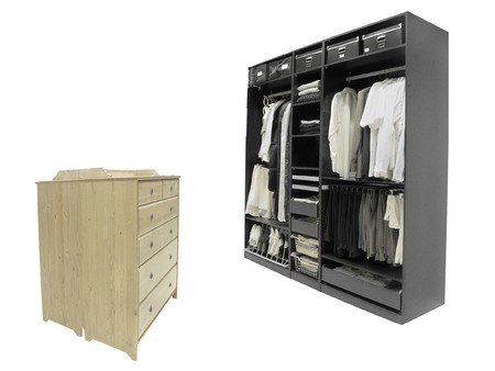 The image of wardrobe and chest of drawers under the white background Stock Photo - 8240432