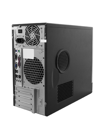 pc case: Backside of the black central processing unit