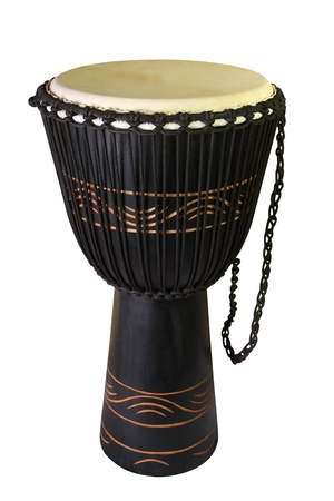 jamming: The image of ethnic african drum under the white background