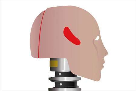 robot head: the image of a robot  head in profile under the white background