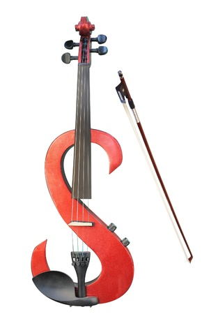 The image of electric violin under the white background