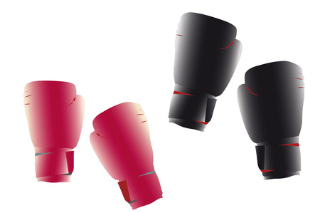illustration of boxing gloves under the white background Vector
