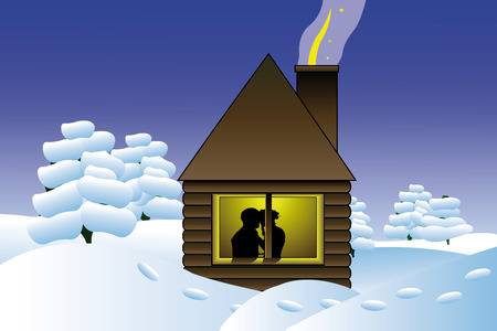 felling: Vector illustration of winter log hut and silhouette of kissing couple in its window