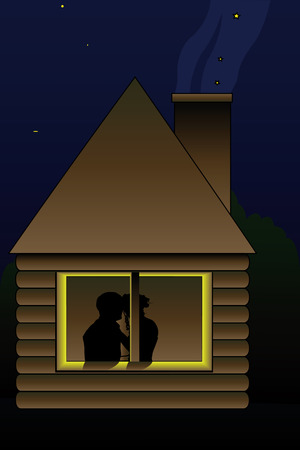 felling: illustration of kissing couple in the window of night hut