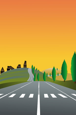 zebra crossing: illustration of country landscape with the road