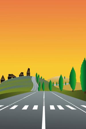 zebra crossing: Ilustraci�n del paisaje del pa�s con la carretera