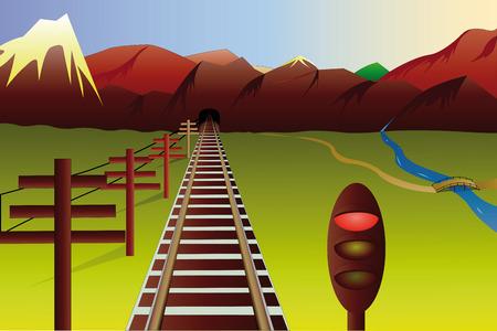 sun track: illustration of mountain landscape with railway