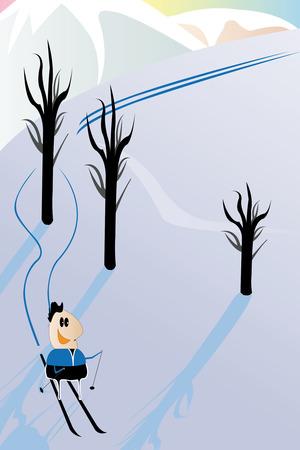 monta�as caricatura: caricatura con la imagen de esquiador alpino gracioso. Pistas de su skiis bordean el �rbol desde ambos lados