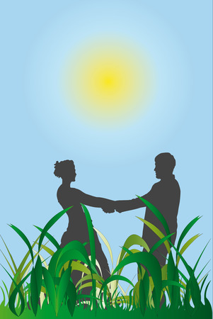 illustration of couple against sky and grass Vector