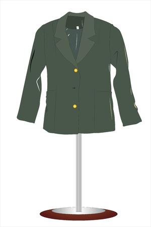 coat rack: illustration of female suit hangs on a coat rack