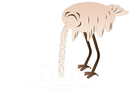 Vector illustration of ostrich hids its head in sand Vector