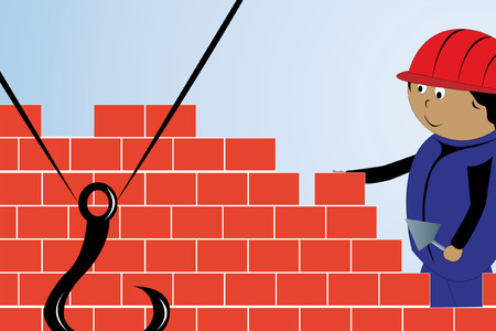 adjusting activity: The builder spreads a brick wall