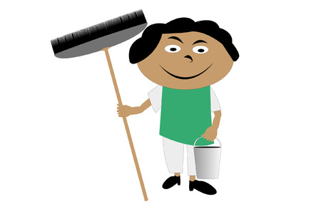 cleanliness: illustration of cleaner under the white background