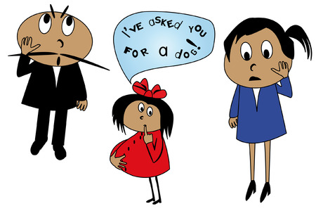 caricature of striked parents and their pregnant little daughter, justified herself with the words  Vector