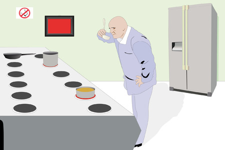 kitchen range: Vector illustration of cooker in the kitchen tests his cooking