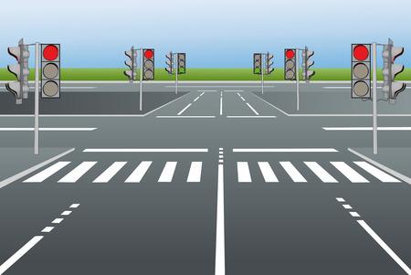 zebra crossing: Ilustraci�n vectorial de calles de la ciudad con sem�foros