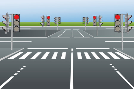 crossroads: Vector illustration of city roads with traffic lights