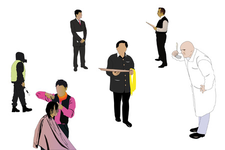 diferentes profesiones: Ilustraci�n vectorial de especialistas de diferentes profesiones Vectores