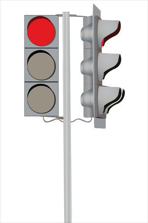 lighting column: Vector illustration of traffic lights under the white background