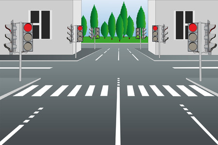crossroads: Vector illustration of empty city street