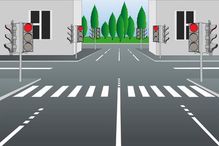 Vector illustration of empty city street