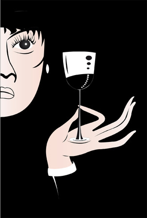 winetasting: Lady with a glass of wine under the black background