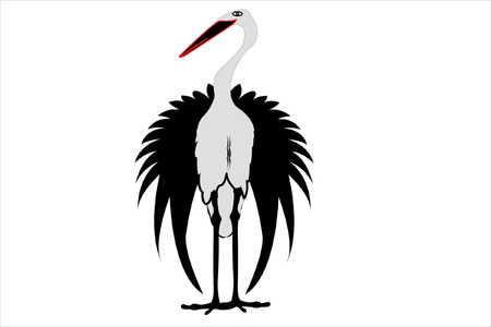 feathering: Vector illustration of a stork under the white background