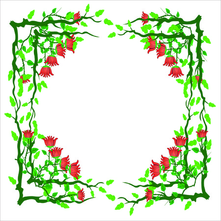 rose bush: Vector illustration of floral frame