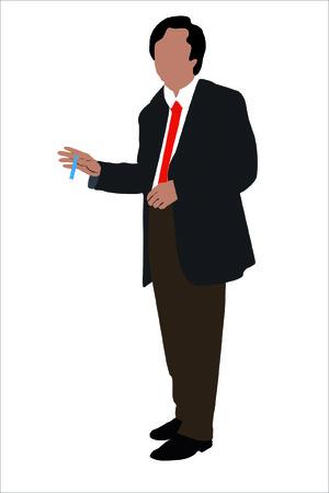 Ilustración vectorial de empresario con un pan en una mano en el fondo blanco