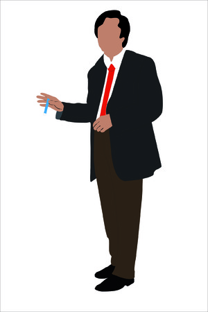 Vector illustration of businessman with a pan in a hand under the white background Stock Vector - 8976428