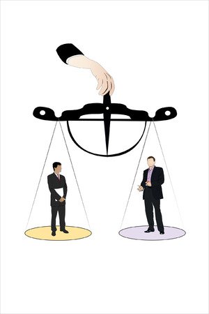 Vector illustration of businessmen stand on the scale pan Stock Vector - 9016205