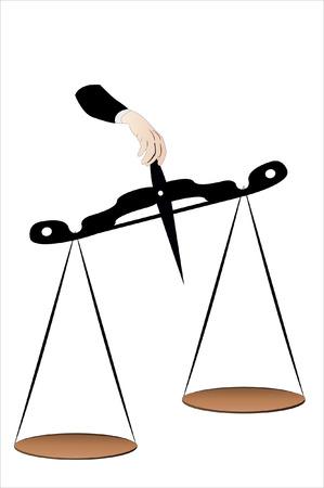 trial balance: Ilustraci�n vectorial de una escala en una mano de hombre Vectores
