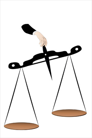 tightrope: Vector illustration of a scale in a man hand