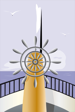 open sea: Vector illustration of control wheel on the boat sails under the open sea Illustration