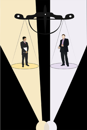 Vector illustration of businessmen stand on the scale pan under projector beam Stock Vector - 9016204