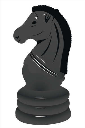 rook: Vector illustration of black horse under the white background