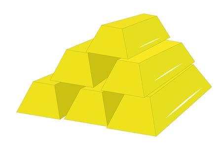 Vector illustration of gold bullions under the white background Stock Vector - 9139672