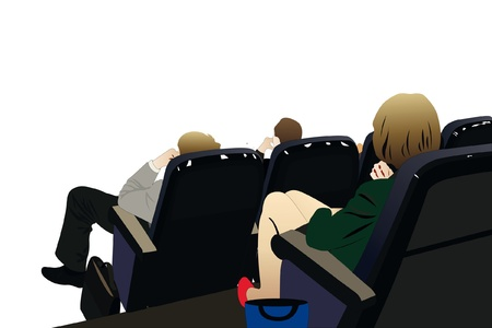 theater man: Vector illustration of people sits in an auditorium