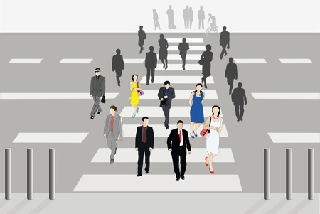 Vector illustration of people cross the road Vector
