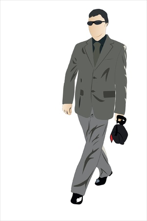 Vector illustration of walking businessman with glasses Stock Vector - 9139752