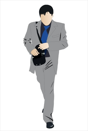 Vector illustration of walking businessman with bag Stock Vector - 9139756